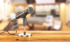 Mikrofon på ställningen på en studiobakgrund royaltyfri illustrationer