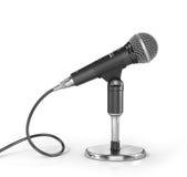 Mikrofon på ställningen på en vit bakgrund stock illustrationer