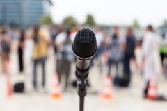 Mikrofon Presskonferens Arkivbilder