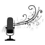 mikrofon som är retro med den musikaliska modellen royaltyfri illustrationer