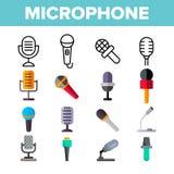 Mikrofon, Sprachaufnahme-Vektor-Farbikonen-Satz stock abbildung