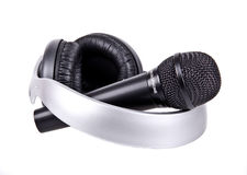Mikrofon und Kopfhörer Lizenzfreies Stockfoto