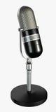 mikrofonen framför retro Arkivfoton