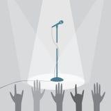 Mikrofonen på etappen under strålkastarna stock illustrationer