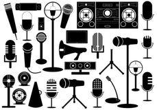 Mikrofoner och grejer Vektor Illustrationer