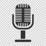 Mikrofonsymbol i plan stil Illustration för Mic-TV-sändningvektor vektor illustrationer