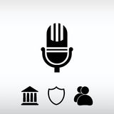 Mikrofonsymbol, vektorillustration Sänka designstil Royaltyfri Foto