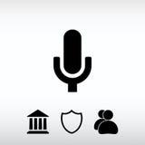 Mikrofonsymbol, vektorillustration Sänka designstil Arkivbild