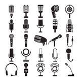 Mikrofonsymbolsuppsättning stock illustrationer
