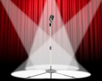 mikrofonu światło reflektorów Obrazy Royalty Free