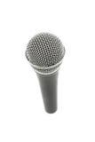 Mikrofonu wysokiego kąta zakończenie up odizolowywający na bielu Obrazy Stock