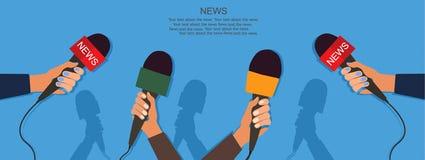 Mikrofony i dyktafon w rękach reportery na konferenci prasowej lub wywiadzie Dziennikarstwa pojęcie wektor ilustracji