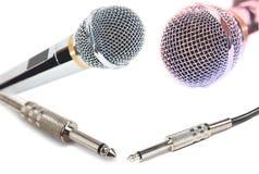 Mikrofony i włączniki odizolowywający fotografia stock