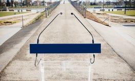 Mikrofony na pulpicie przed mostem Obraz Royalty Free