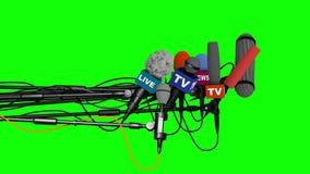Mikrofony przygotowywają dla konferenci prasowej, boczny widok, 3D na zielonym tle ilustracji