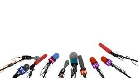 Mikrofony przygotowywają dla konferenci prasowej, 3D animacja z alfa kanałem ilustracja wektor