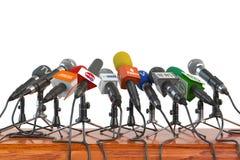 Mikrofony różni środki masowego przekazu, radio, tv i prasa, przygotowywają ilustracja wektor