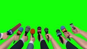 Mikrofony w rękach dziennikarzi na zielonym tle, 3D animacja ilustracji