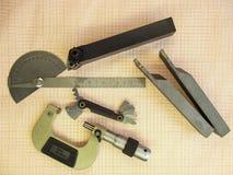 Mikrometer instrument, i att bearbeta med maskin för metall Royaltyfri Fotografi
