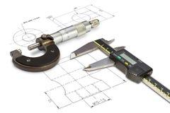 Mikrometer och digitala nonieskalaklämmor Arkivfoton