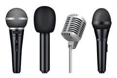 Mikrophone 3d Musikstudio reden realistische Bilder des verschiedenen mic-Ausrüstungsvektors der Weinlese die lokalisierten Mikro vektor abbildung