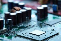 Mikroprocesor z płyty głównej tłem Komputeru układu scalonego deskowy obwód Microelectronics narzędzia pojęcie Obrazy Stock