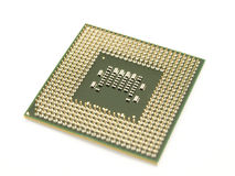 Mikroprocessor som isoleras på white Arkivbild