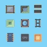 Mikroprozessor und elektronische Chipikonen stellen Sie Chipvektorillustration ein Stockfoto