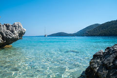 The Mikros Gialos beach of Lefkas in Greece stock images