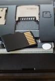 MikroSD-kort på den smarta telefonen Royaltyfria Bilder