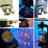 Mikroskop. Collage Lizenzfreies Stockfoto