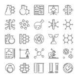 Mikroskop-, flaska-, molekyl- och kemilinje vektorsymboler stock illustrationer