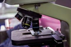Mikroskop i laboratorium Arkivbild