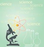 Mikroskop med provrör Royaltyfria Bilder