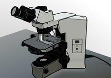 Mikroskop przy Laboranckim biurkiem ilustracji
