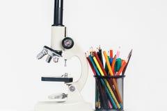 Mikroskop und Schale für Bleistifte Lizenzfreie Stockfotografie