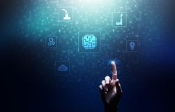 Mikroukład, sztuczna inteligencja, automatyzacja i internet rzeczy IOT, Cyfrowej integracja ilustracja wektor