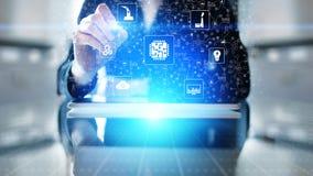 Mikroukład, sztuczna inteligencja, automatyzacja i internet rzeczy, IOT, Cyfrowej integracja obrazy stock