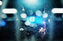 Mikroukład, sztuczna inteligencja, automatyzacja i internet rzeczy IOT, Cyfrowej integracja pojęcia odosobniony technologii biel ilustracja wektor