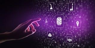 Mikroukład, sztuczna inteligencja, automatyzacja i internet rzeczy, IOT, Cyfrowej integracja pojęcia odosobniony technologii biel zdjęcia royalty free