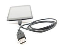 Mikrousb-kabel med den smarta telefonen Royaltyfria Bilder