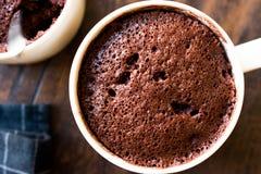Mikrovåg Brownie Chocolate Mug Cake Ready som ska ätas Arkivbild