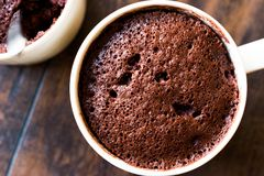 Mikrovåg Brownie Chocolate Mug Cake Ready som ska ätas royaltyfri fotografi