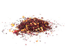 Mikstury ziołowa kwiecista owocowa herbata z płatkami, suchymi jagodami i owoc, Texsture zdjęcia royalty free