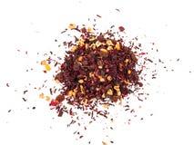 Mikstury ziołowa kwiecista owocowa herbata z płatkami, suchymi jagodami i owoc, Texsture obraz stock