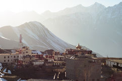 Miktinath town from above surrounded by Himalayas Royalty Free Stock Photography