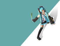Miku Hatsune cosplay. On abstract background stock photos