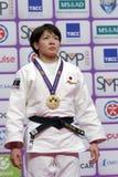 Miku Tashiro, Ιαπωνία με το χρυσό μετάλλιο των παγκόσμιων κυρίων 2017 τζούντου Στοκ Εικόνα