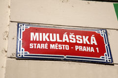 Mikulasska Street Sign; Stare Mesto Neighborhood; Prague Royalty Free Stock Images