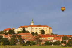 Mikulov Castle with balloon Stock Photo